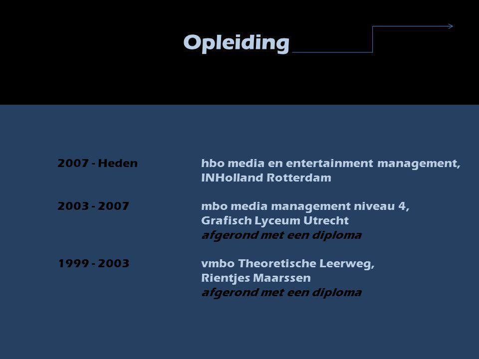 Werkervaring Werk 2006 - 2007Makro, Nieuwegein werkzaam als magazijnmedewerker 2002 - 2003MaxFoodMarket, Lage Weide (Utrecht) Internet supermarkt; werkzaam als magazijn medewerker/ orderpikker Stages Sep - Feb 2006Present Press te Culemborg, uitgeverij sponsered magazines, werkzaam op de afdeling Verkoop Feb - Juli 2005True Colours, Lage Weide (Utrecht) ordermanager ; werkzaamheden o.a.