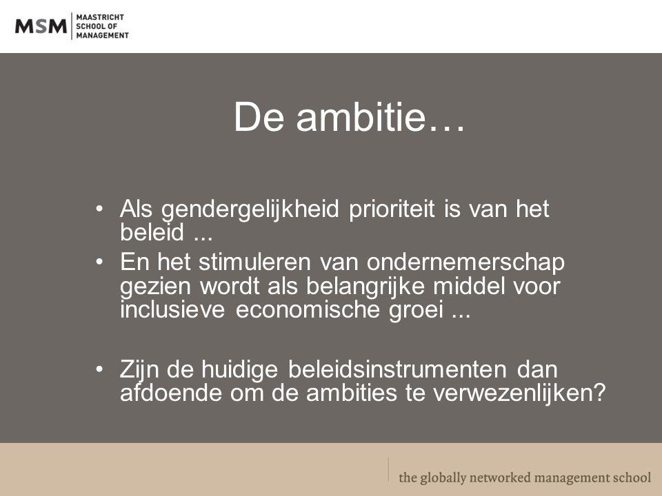 De ambitie… Als gendergelijkheid prioriteit is van het beleid...