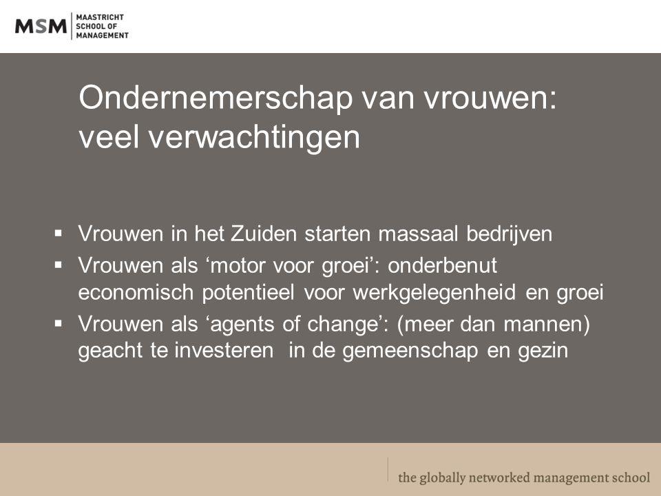 Zinvolle strategieen 1.Waarborgen van gendergelijkheid in wet & regelgeving (hervormingen) 2.Verbeteren van randvoorwaarden: gendervriendelijke eco-systemen voor ondernemende vrouwen 3.Veranderen van gendered normatieve opvattingen en verhoudingen