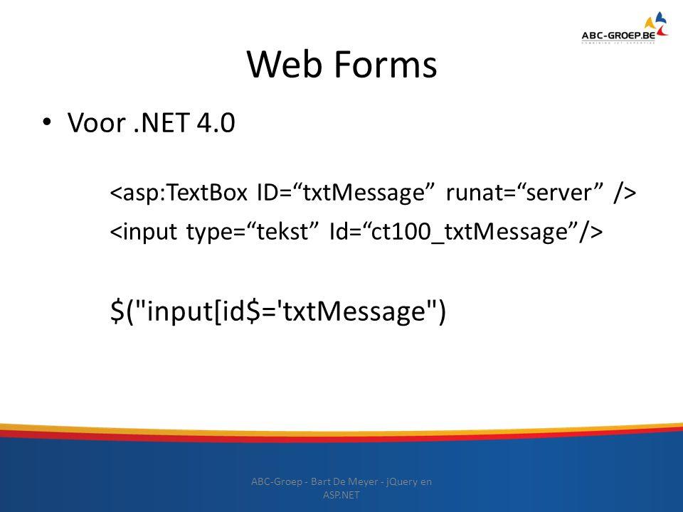 Web Forms Voor.NET 4.0 $(
