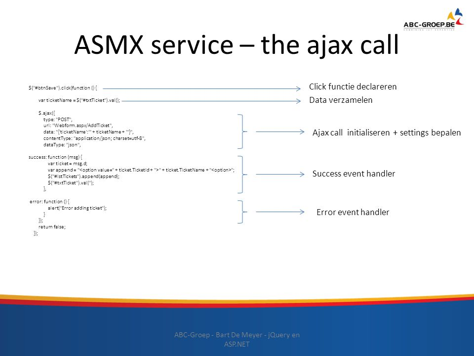 ASMX service – the ajax call $(