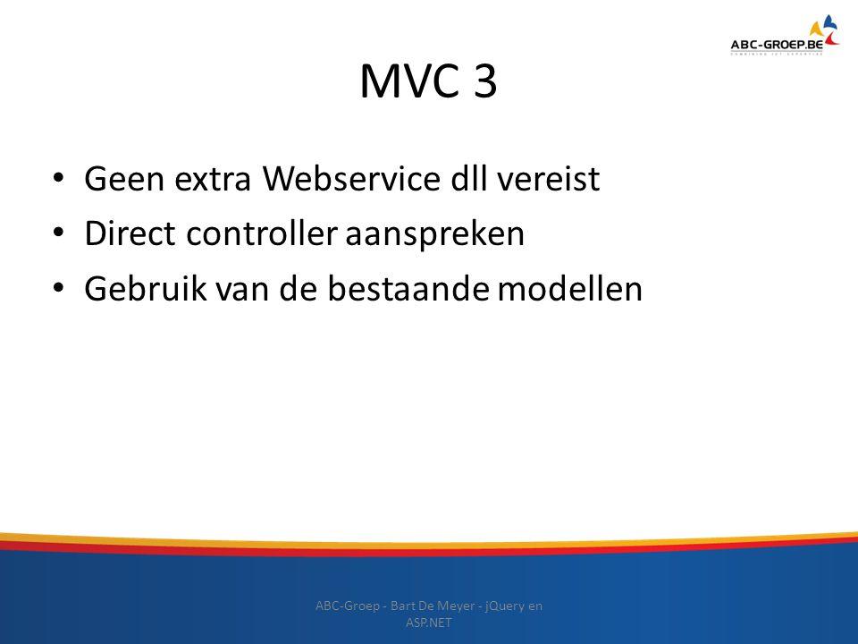 MVC 3 Geen extra Webservice dll vereist Direct controller aanspreken Gebruik van de bestaande modellen ABC-Groep - Bart De Meyer - jQuery en ASP.NET