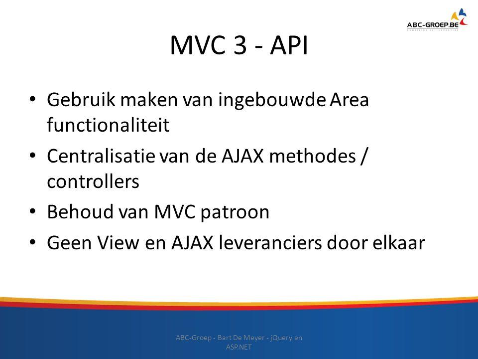 MVC 3 - API Gebruik maken van ingebouwde Area functionaliteit Centralisatie van de AJAX methodes / controllers Behoud van MVC patroon Geen View en AJA