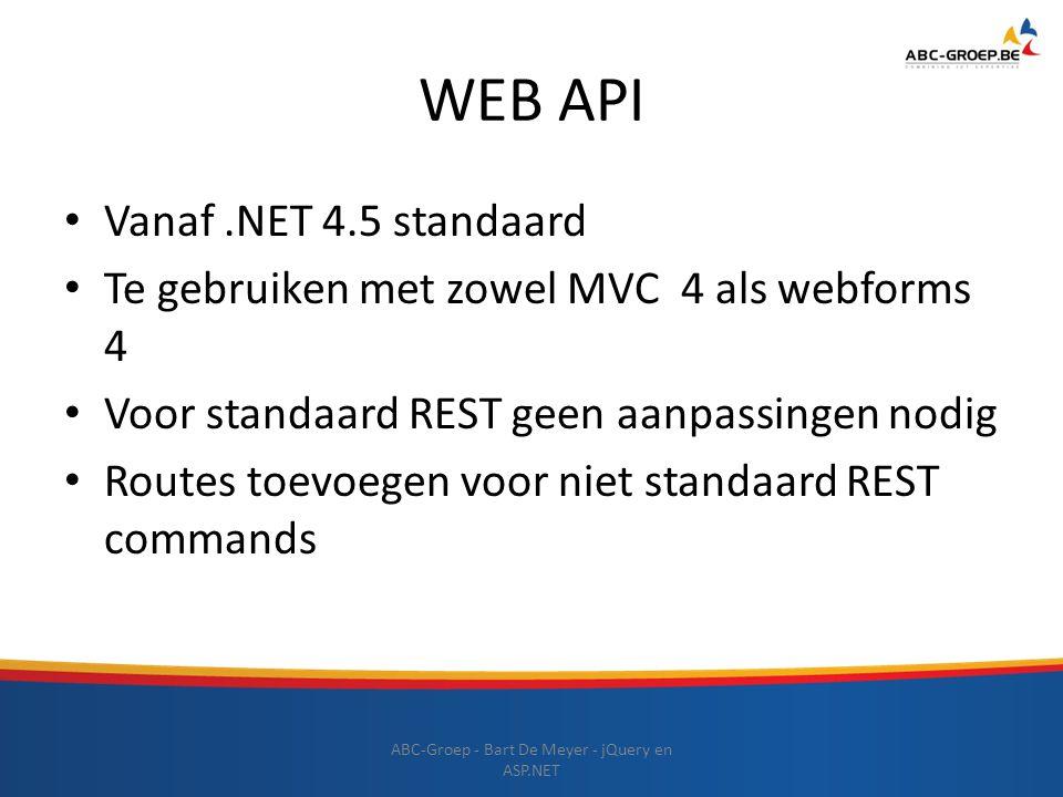 WEB API ABC-Groep - Bart De Meyer - jQuery en ASP.NET Vanaf.NET 4.5 standaard Te gebruiken met zowel MVC 4 als webforms 4 Voor standaard REST geen aan