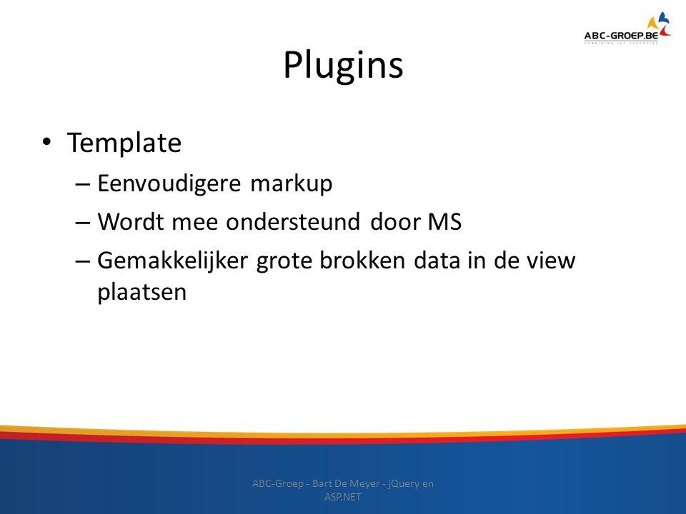 Plugins ABC-Groep - Bart De Meyer - jQuery en ASP.NET Template – Eenvoudigere markup – Wordt mee ondersteund door MS – Gemakkelijker grote brokken dat