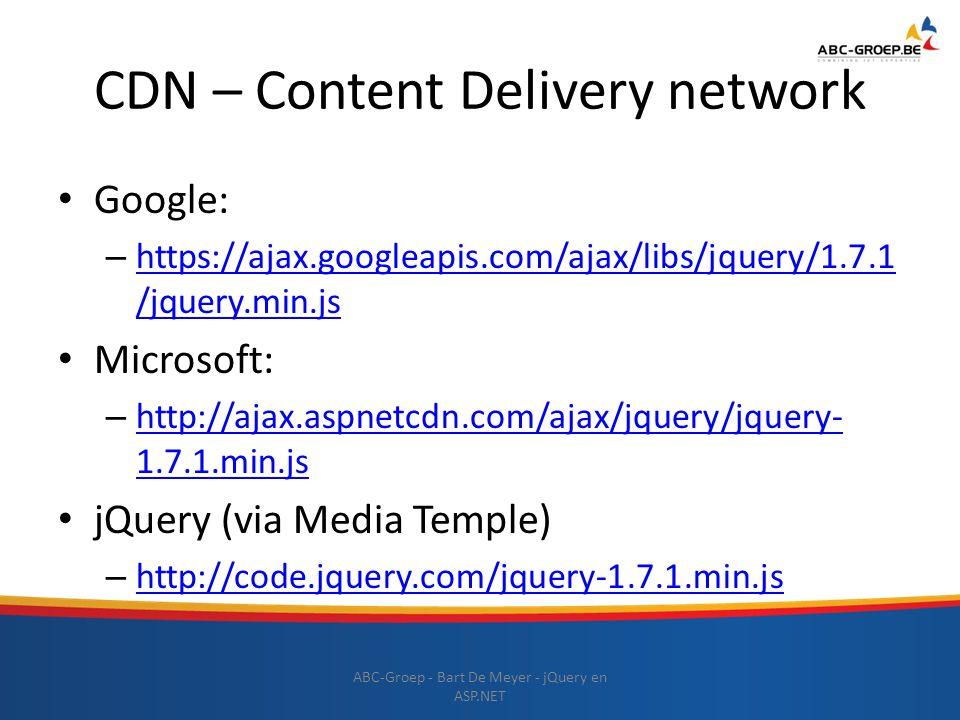 CDN – Content Delivery network Google: – https://ajax.googleapis.com/ajax/libs/jquery/1.7.1 /jquery.min.js https://ajax.googleapis.com/ajax/libs/jquer