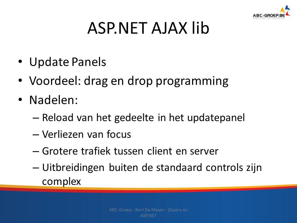 ASP.NET AJAX lib Update Panels Voordeel: drag en drop programming Nadelen: – Reload van het gedeelte in het updatepanel – Verliezen van focus – Groter