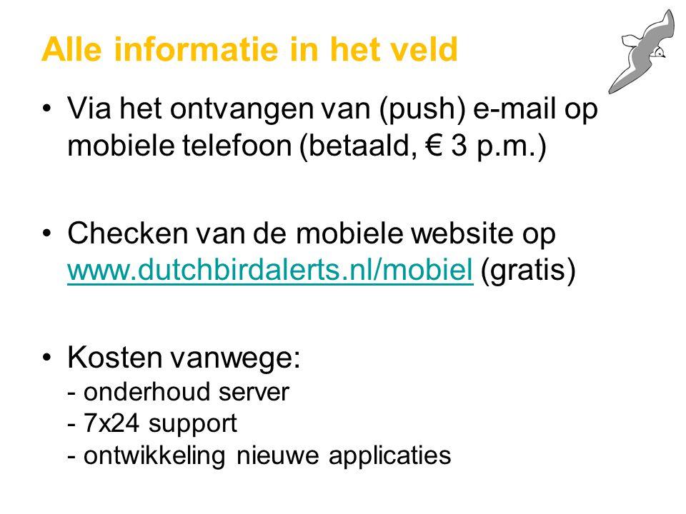 Alle informatie in het veld Via het ontvangen van (push) e-mail op mobiele telefoon (betaald, € 3 p.m.) Checken van de mobiele website op www.dutchbir
