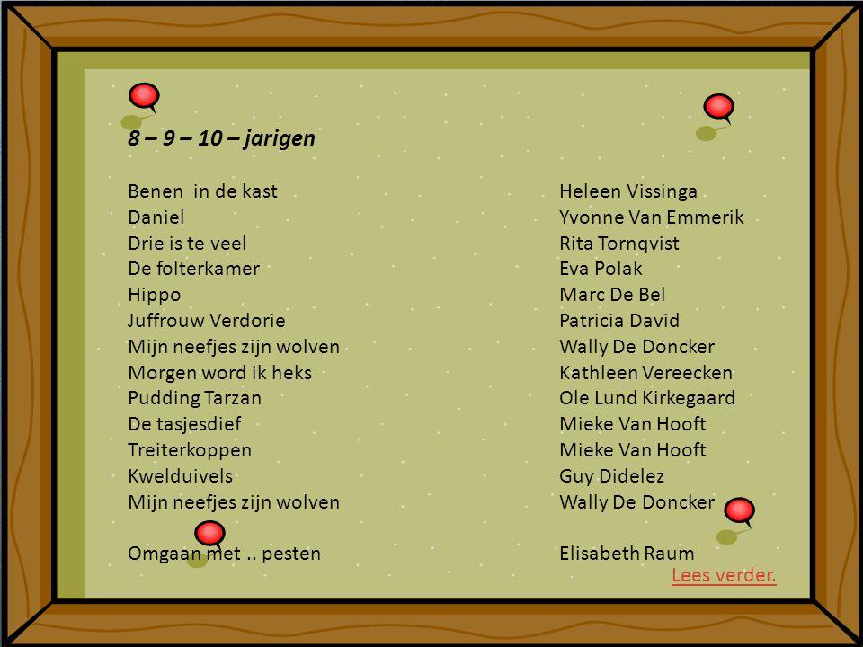 8 – 9 – 10 – jarigen Benen in de kastHeleen Vissinga DanielYvonne Van Emmerik Drie is te veelRita Tornqvist De folterkamerEva Polak HippoMarc De Bel J