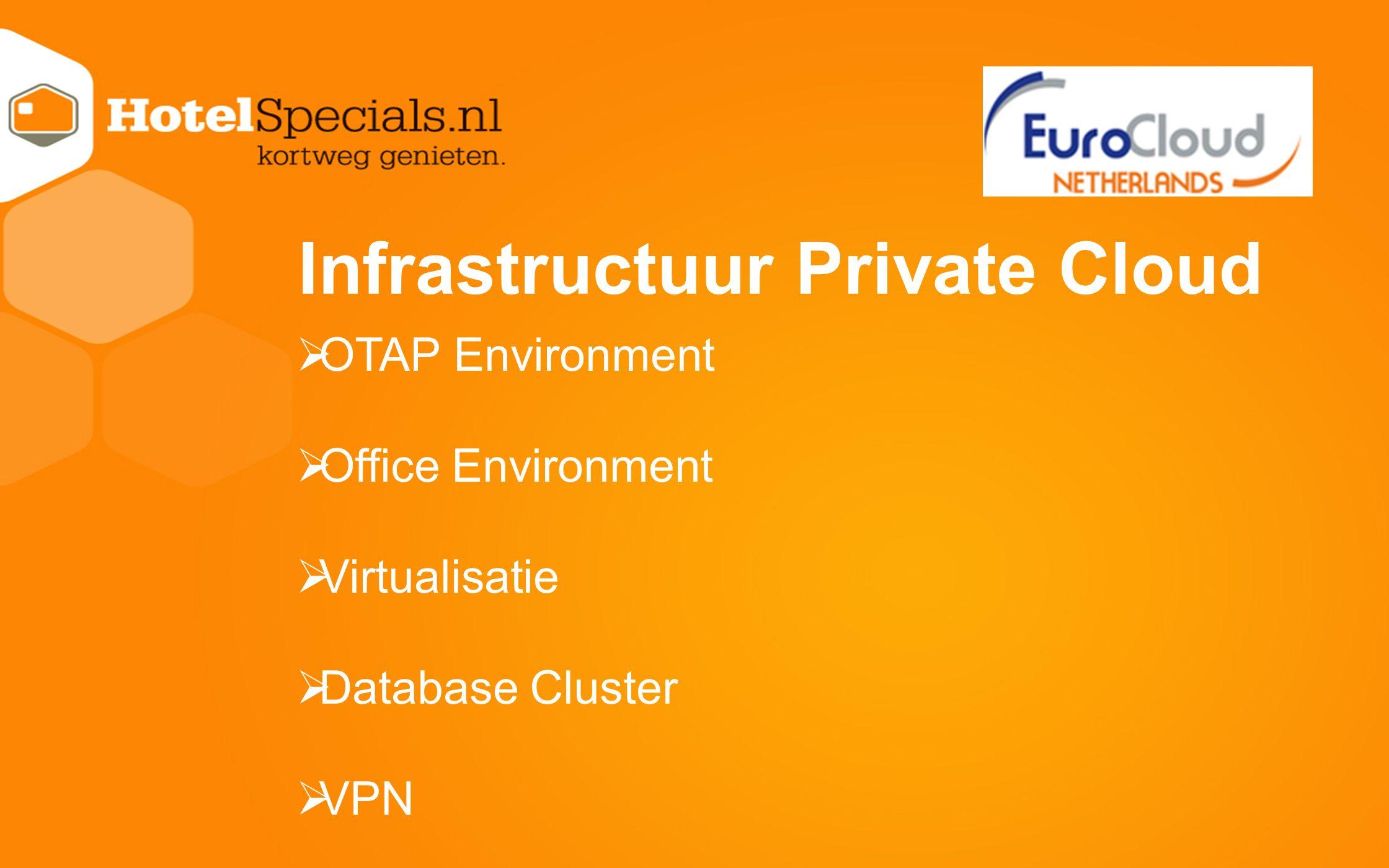 Infrastructuur Private Cloud  OTAP Environment  Office Environment  Virtualisatie  Database Cluster  VPN