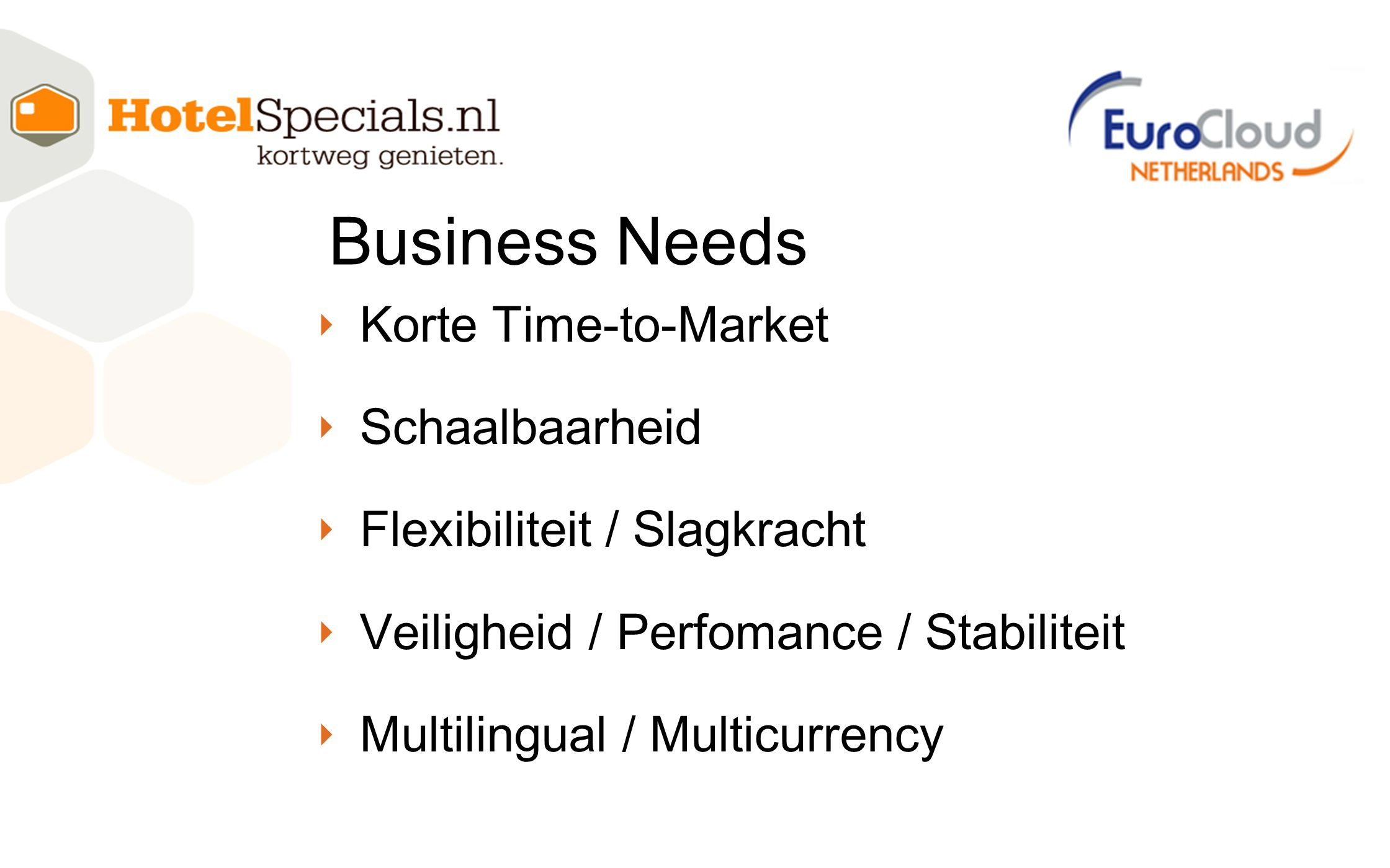 ‣ Korte Time-to-Market ‣ Schaalbaarheid ‣ Flexibiliteit / Slagkracht ‣ Veiligheid / Perfomance / Stabiliteit ‣ Multilingual / Multicurrency Business Needs