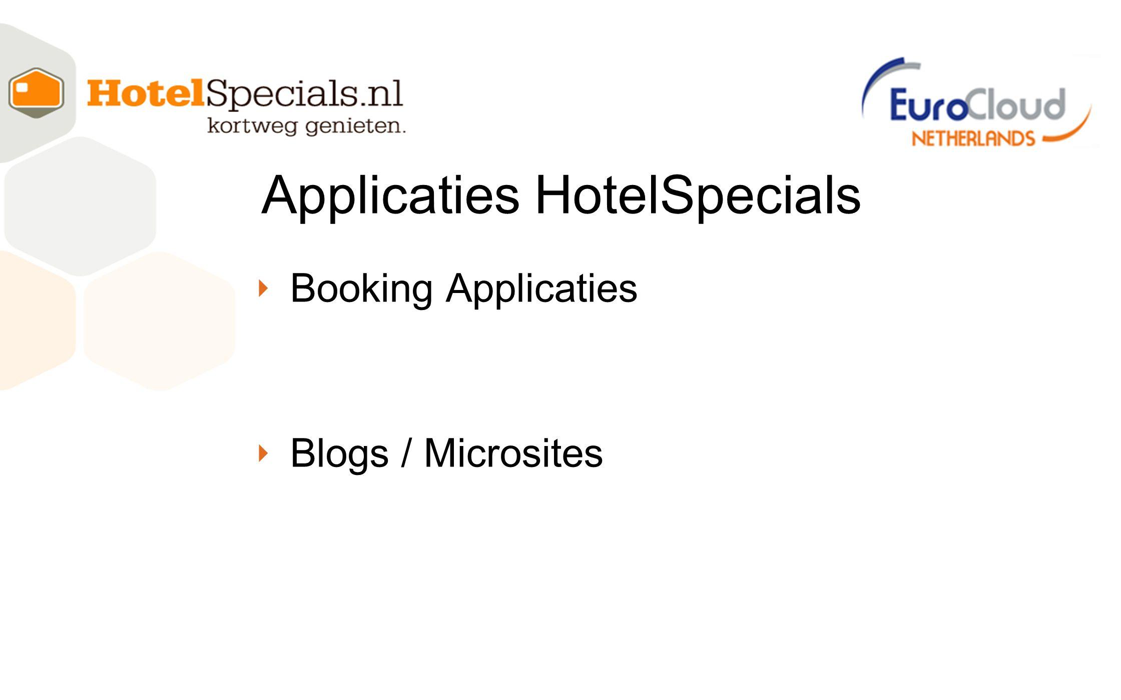 ‣ Booking Applicaties ‣ Blogs / Microsites Applicaties HotelSpecials