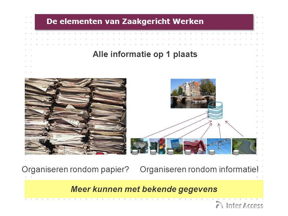 De elementen van Zaakgericht Werken Alle informatie op 1 plaats Organiseren rondom papier?Organiseren rondom informatie! Meer kunnen met bekende gegev