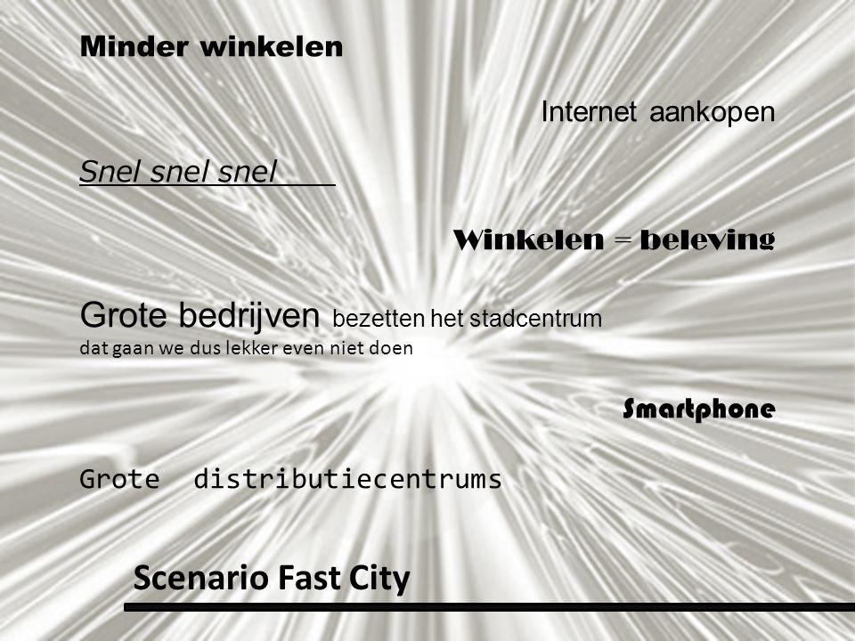 Minder winkelen Internet aankopen Snel snel snel Winkelen = beleving Grote bedrijven bezetten het stadcentrum dat gaan we dus lekker even niet doen Sm