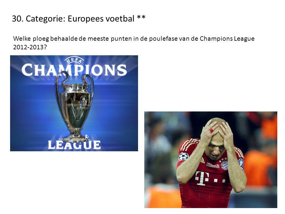 30. Categorie: Europees voetbal ** Welke ploeg behaalde de meeste punten in de poulefase van de Champions League 2012-2013?