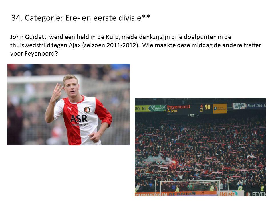 34. Categorie: Ere- en eerste divisie** John Guidetti werd een held in de Kuip, mede dankzij zijn drie doelpunten in de thuiswedstrijd tegen Ajax (sei