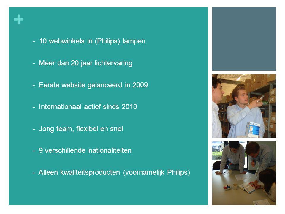 + - 10 webwinkels in (Philips) lampen - Meer dan 20 jaar lichtervaring - Eerste website gelanceerd in 2009 - Internationaal actief sinds 2010 - Jong team, flexibel en snel - 9 verschillende nationaliteiten - Alleen kwaliteitsproducten (voornamelijk Philips)