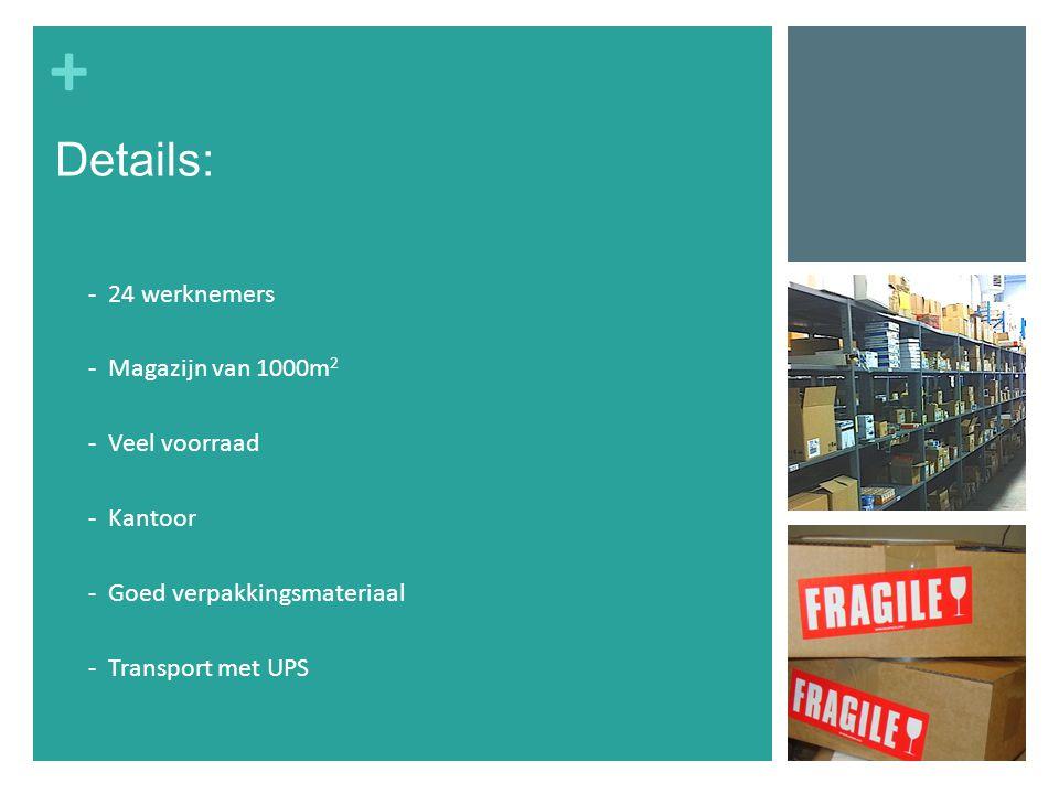 + - 24 werknemers - Magazijn van 1000m 2 - Veel voorraad - Kantoor - Goed verpakkingsmateriaal - Transport met UPS Details: