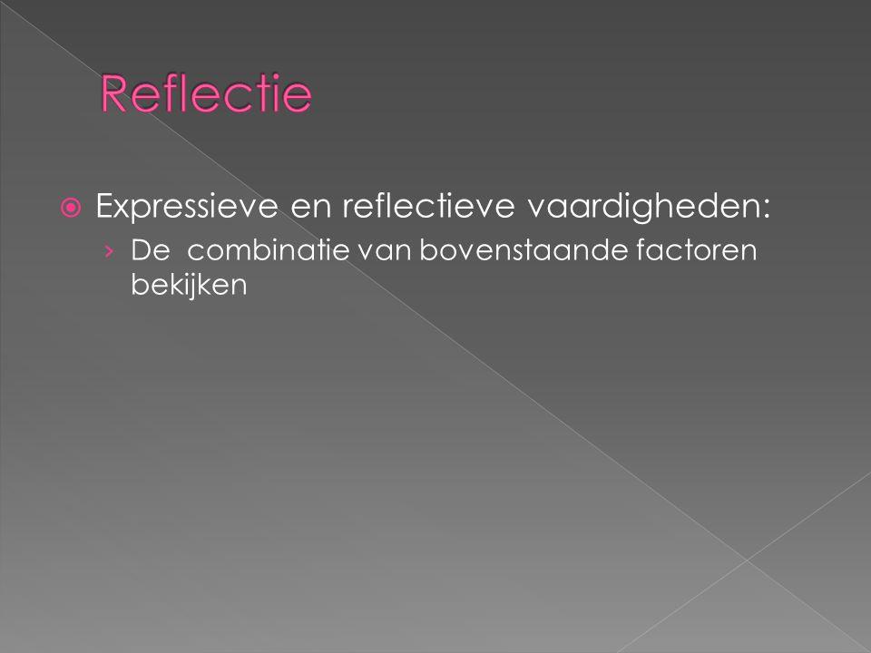  Expressieve en reflectieve vaardigheden: › De combinatie van bovenstaande factoren bekijken
