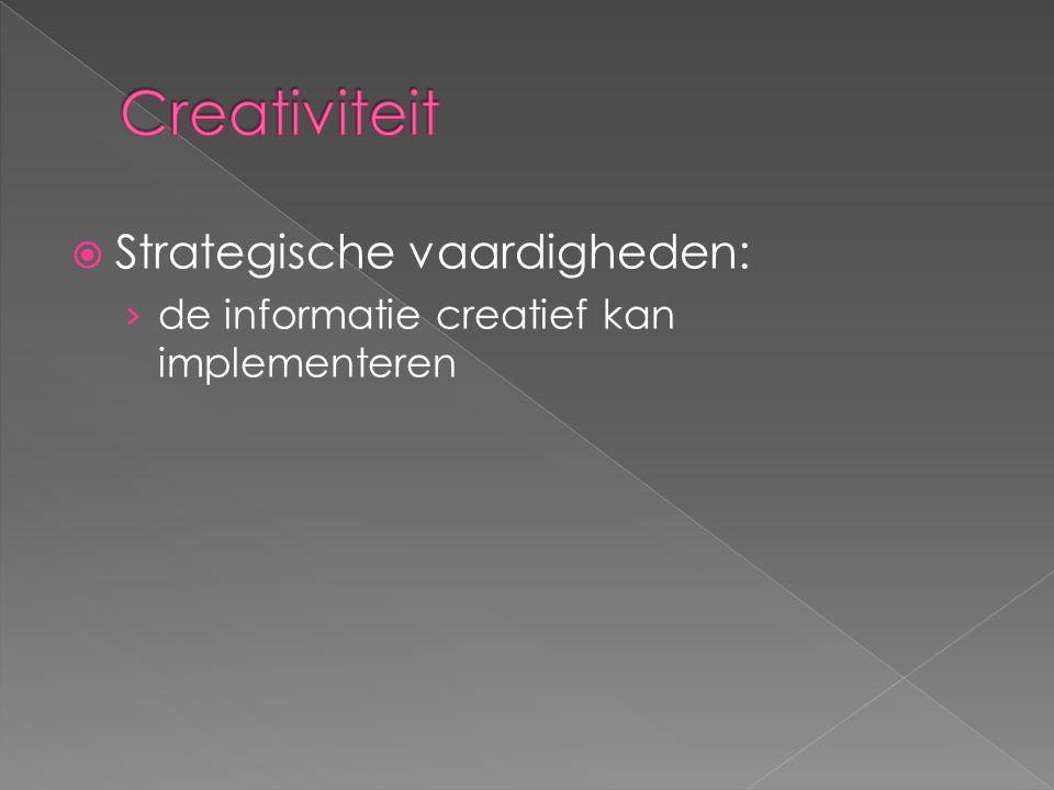  Strategische vaardigheden: › de informatie creatief kan implementeren