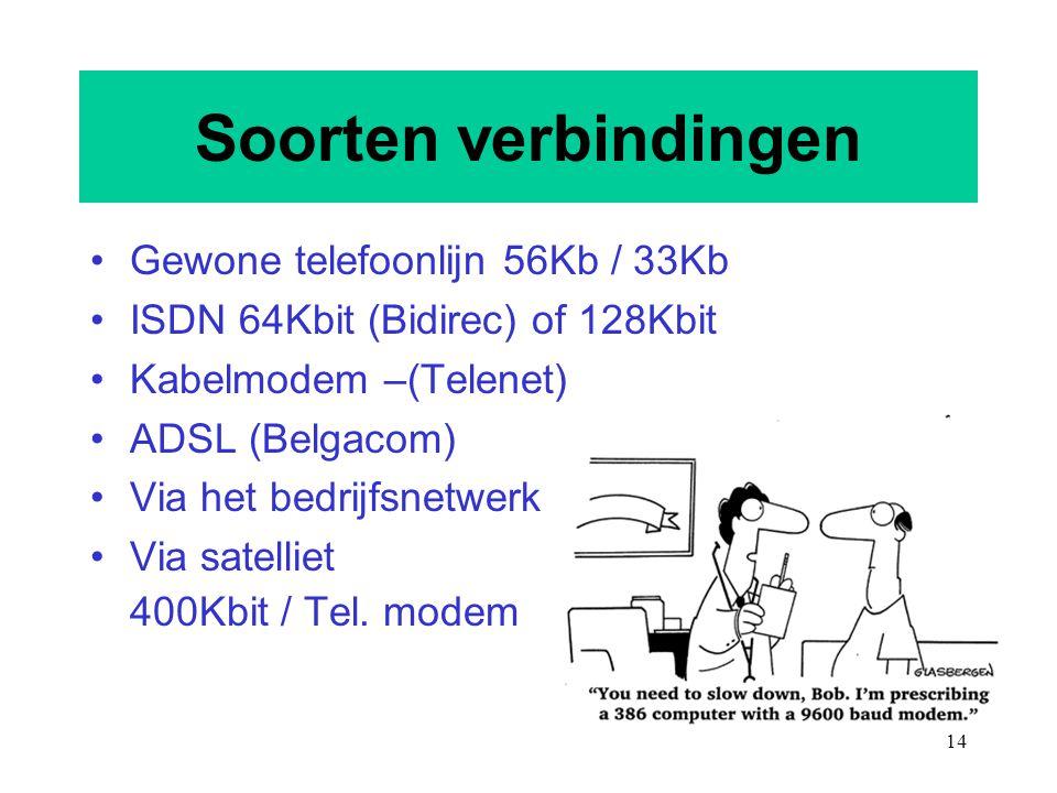 14 Soorten verbindingen Gewone telefoonlijn 56Kb / 33Kb ISDN 64Kbit (Bidirec) of 128Kbit Kabelmodem –(Telenet) ADSL (Belgacom) Via het bedrijfsnetwerk