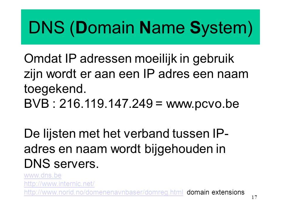 17 DNS (Domain Name System) Omdat IP adressen moeilijk in gebruik zijn wordt er aan een IP adres een naam toegekend. BVB : 216.119.147.249 = www.pcvo.