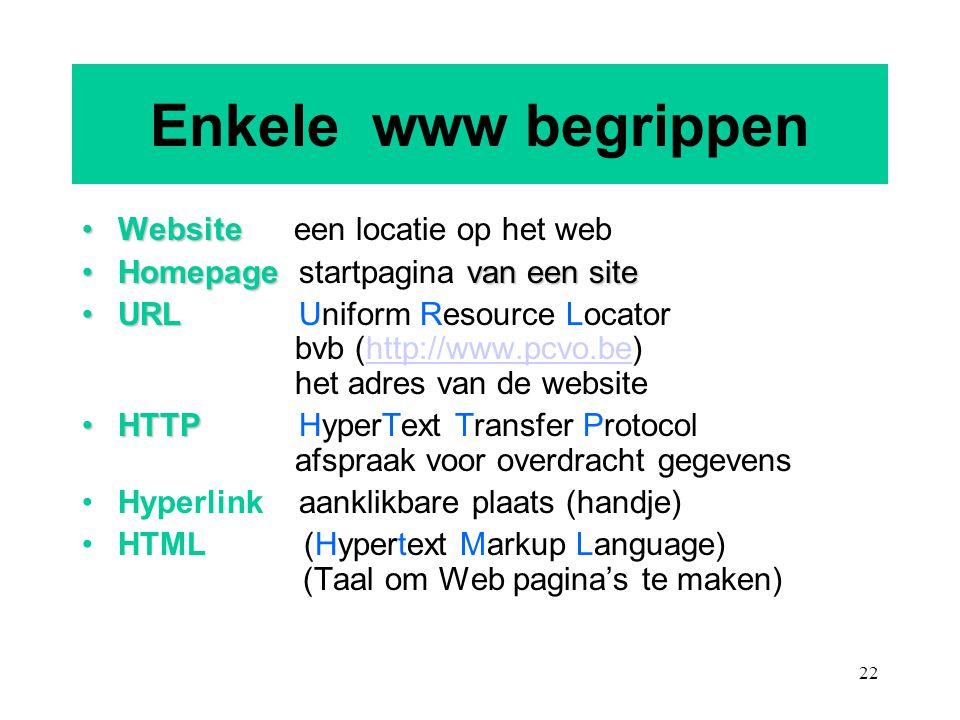 22 Enkele www begrippen WebsiteWebsite een locatie op het web Homepage van een siteHomepage startpagina van een site URLURL Uniform Resource Locator b
