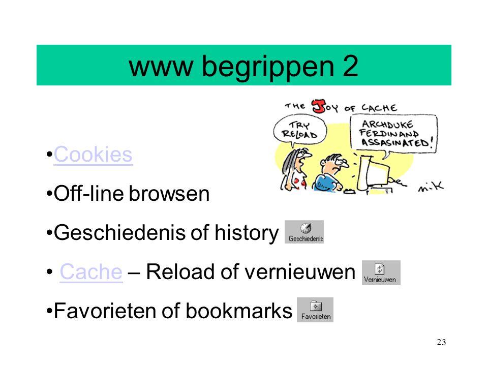 23 www begrippen 2 Cookies Off-line browsen Geschiedenis of history Cache – Reload of vernieuwenCache Favorieten of bookmarks