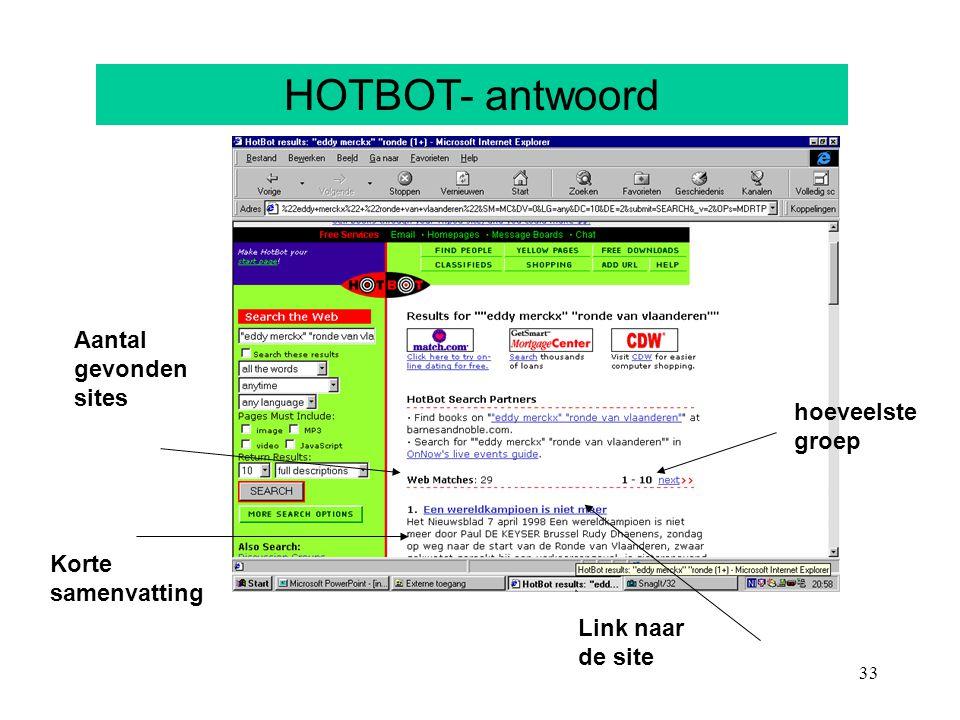 33 HOTBOT- antwoord Aantal gevonden sites Korte samenvatting Link naar de site hoeveelste groep