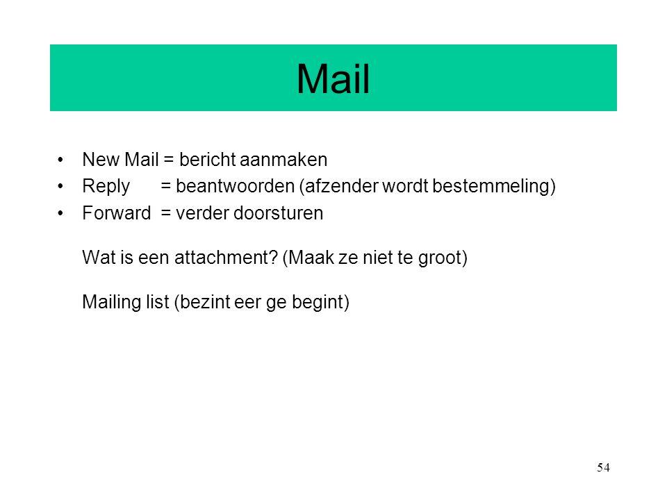 54 Mail New Mail = bericht aanmaken Reply = beantwoorden (afzender wordt bestemmeling) Forward = verder doorsturen Wat is een attachment? (Maak ze nie