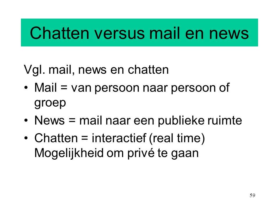 59 Chatten versus mail en news Vgl. mail, news en chatten Mail = van persoon naar persoon of groep News = mail naar een publieke ruimte Chatten = inte