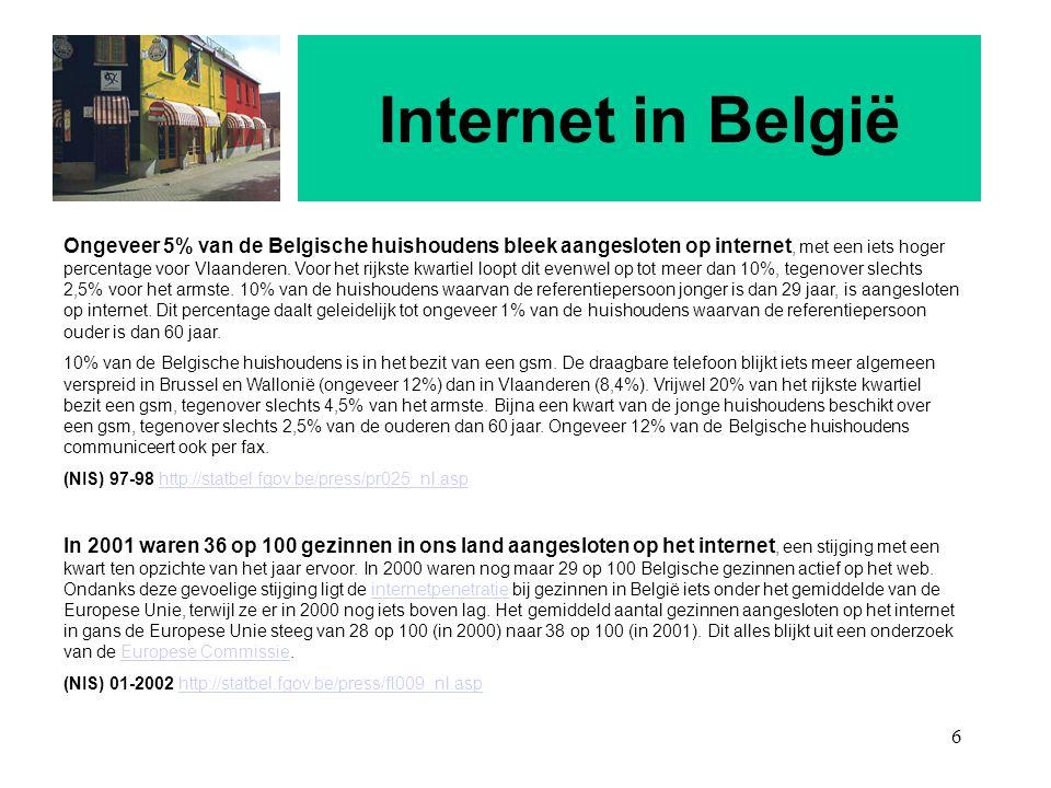 6 Internet in België Ongeveer 5% van de Belgische huishoudens bleek aangesloten op internet, met een iets hoger percentage voor Vlaanderen. Voor het r