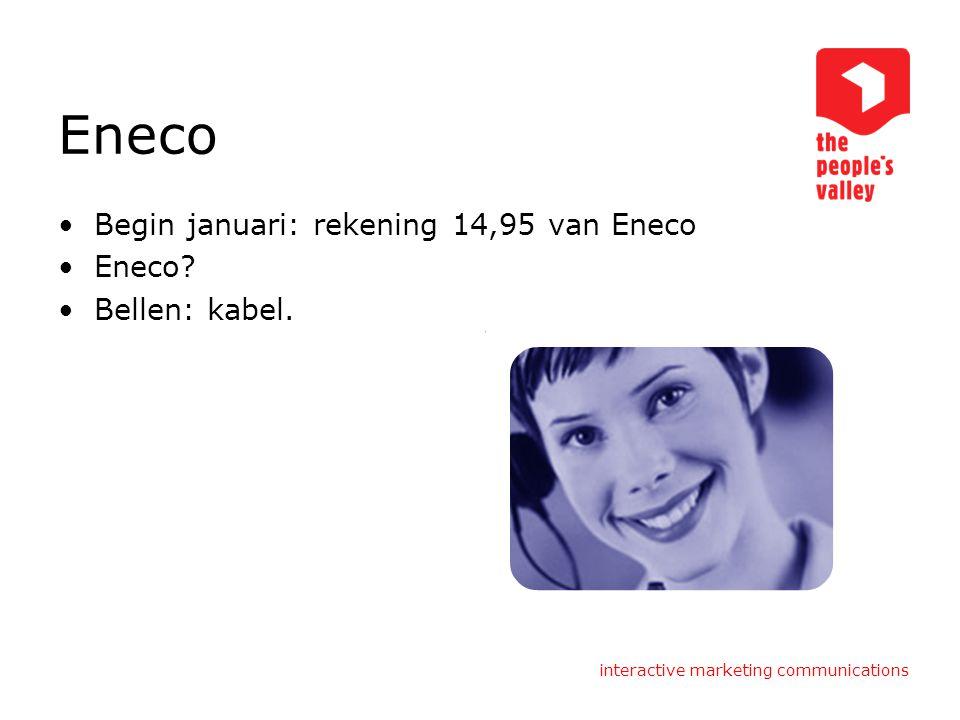 Eneco Begin januari: rekening 14,95 van Eneco Eneco? Bellen: kabel.