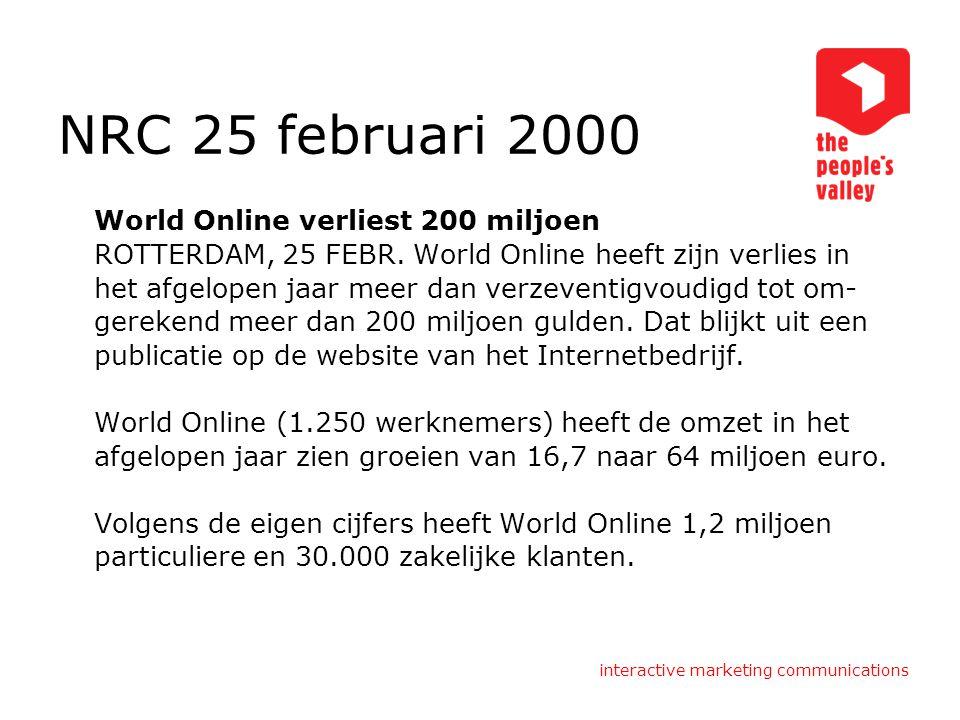 interactive marketing communications Het internet 1969: uitgevonden 1993: Lycos zoekmachine 1994: opkomst websites in nederland 1998: google 1999: online banking 2005: web 2.0