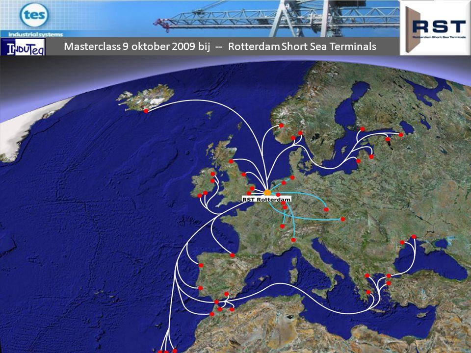 Short Sea Terminal Taak van de terminal daarin is er voor te zorgen dat: de juiste container op tijd op de juiste plaats op het juiste schip staat voor zo gering mogelijke kosten.