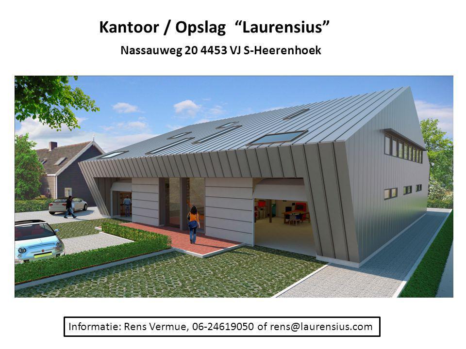 """Kantoor / Opslag """"Laurensius"""" Nassauweg 20 4453 VJ S-Heerenhoek Informatie: Rens Vermue, 06-24619050 of rens@laurensius.com"""