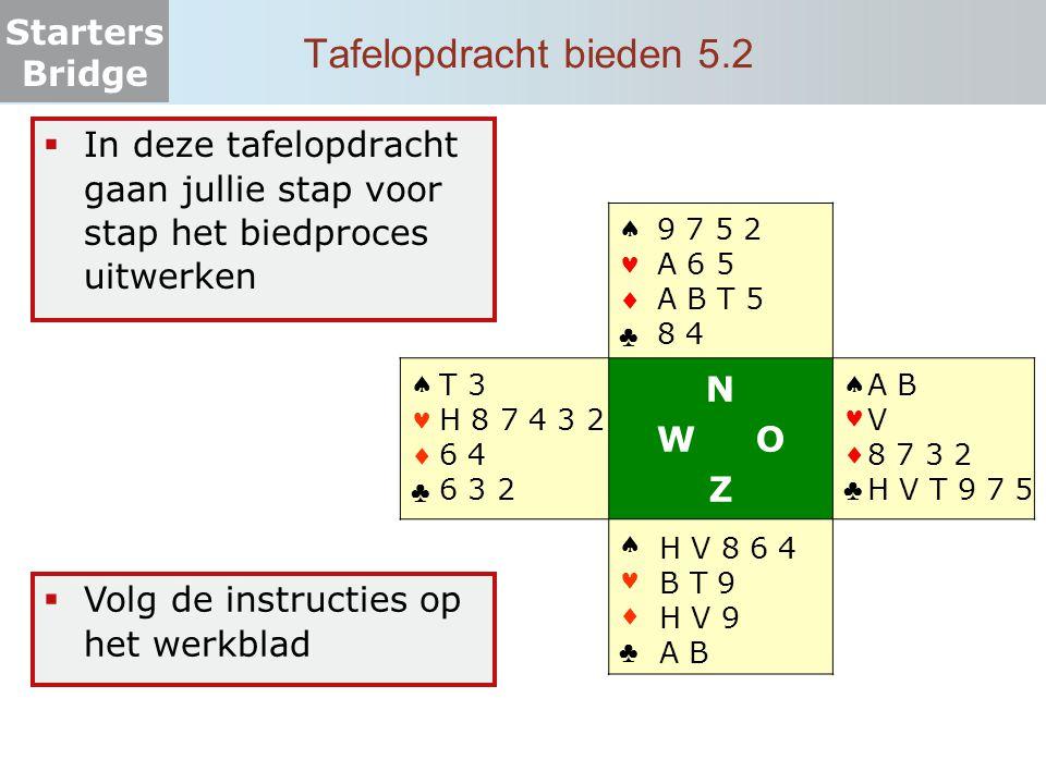 Starters Bridge Zelf aan de slag 5.1  Onderzoek welke partij de meeste punten heeft  Deze partij gaat de speelsoort onderzoeken  Speel het afgesproken contract  Bepaal de score   ♣ A V 8 2 8 4 H V 8 7 6 9 2   ♣ 9 7 6 H B 9 5 2 B T 4 A T N W O Z   ♣ B T 5 V T 3 9 5 3 V 6 5 3   ♣ H 4 3 A 7 6 A 2 H B 8 7 4  Contract: 3 SA door Zuid  Maximaal haalbare bij goed afspelen:  N-Z: 10 slagen  O-W: 3 slagen