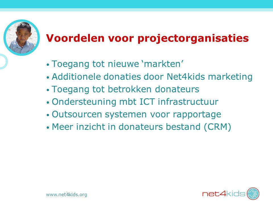 www.net4kids.org Voordelen voor projectorganisaties Toegang tot nieuwe 'markten' Additionele donaties door Net4kids marketing Toegang tot betrokken donateurs Ondersteuning mbt ICT infrastructuur Outsourcen systemen voor rapportage Meer inzicht in donateurs bestand (CRM)
