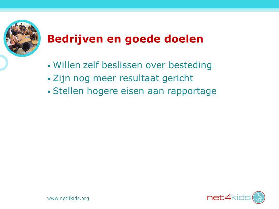 www.net4kids.org Bedrijven en goede doelen Willen zelf beslissen over besteding Zijn nog meer resultaat gericht Stellen hogere eisen aan rapportage