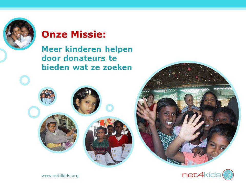 www.net4kids.org Onze Missie: Meer kinderen helpen door donateurs te bieden wat ze zoeken