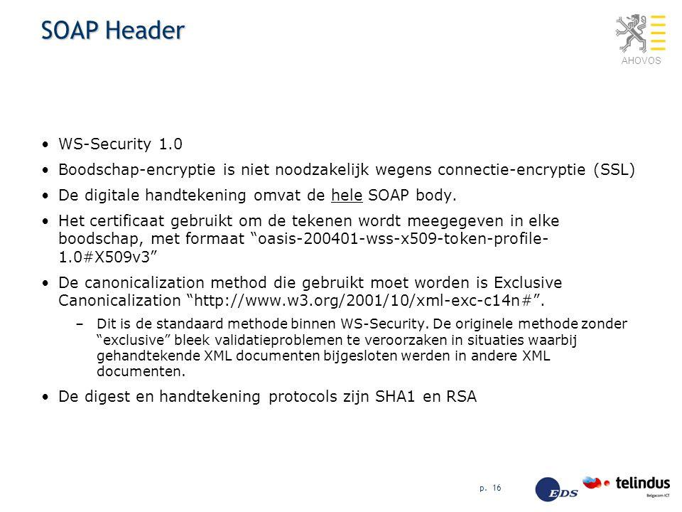 AHOVOS p. 16 SOAP Header WS-Security 1.0 Boodschap-encryptie is niet noodzakelijk wegens connectie-encryptie (SSL) De digitale handtekening omvat de h