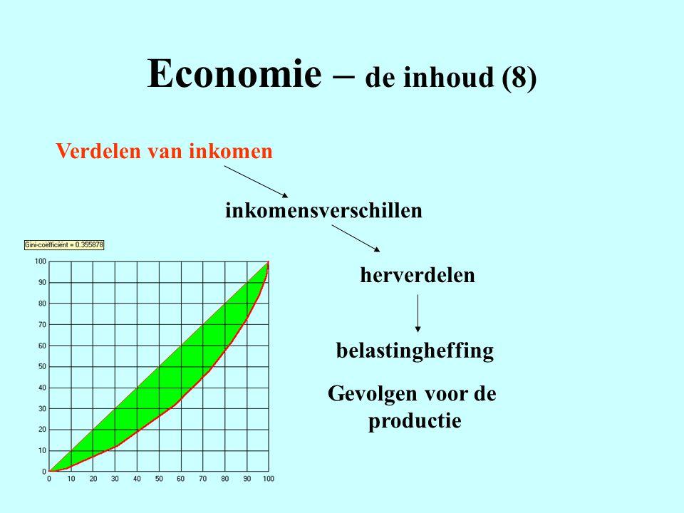 Economie – de inhoud (8) Verdelen van inkomen inkomensverschillen herverdelen belastingheffing Gevolgen voor de productie