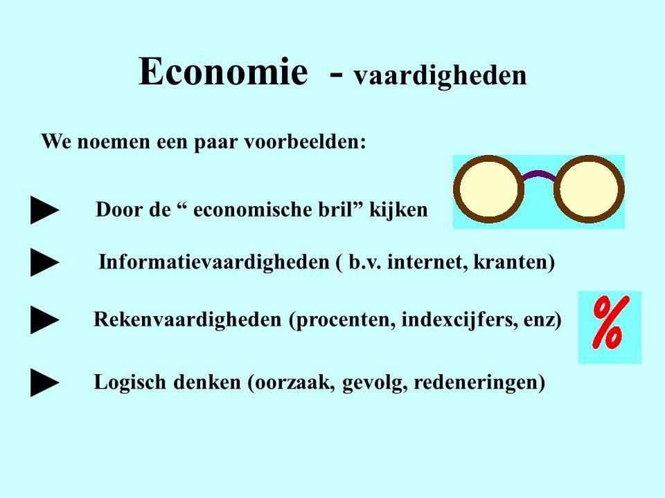 """Economie - vaardigheden We noemen een paar voorbeelden: Door de """" economische bril"""" kijken Informatievaardigheden ( b.v. internet, kranten) ► ► ► Reke"""