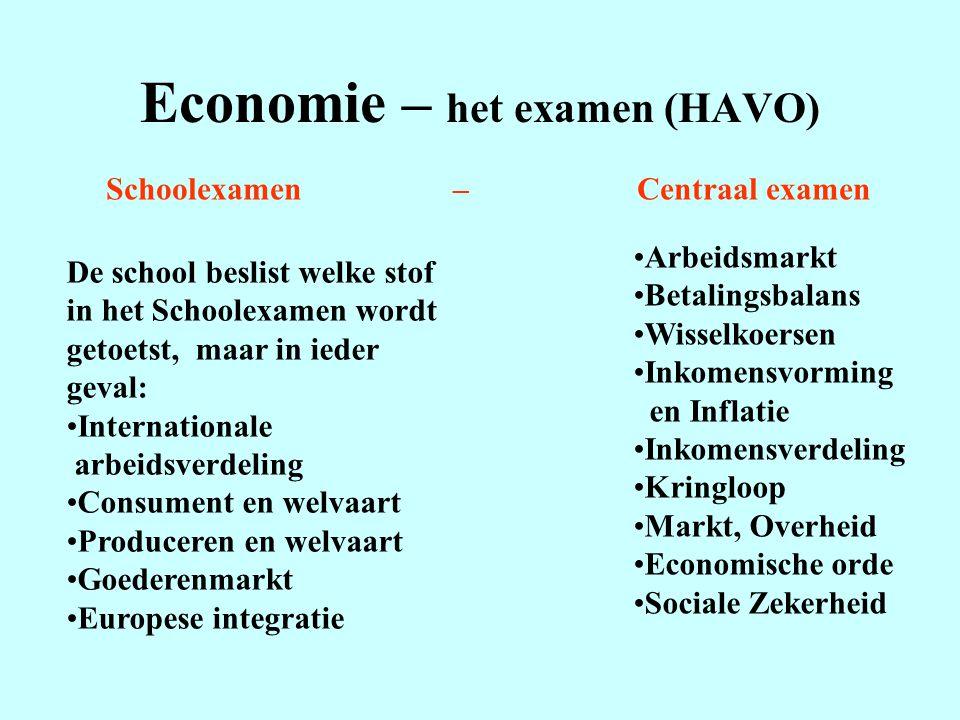 Economie – het examen (HAVO) Schoolexamen – Centraal examen De school beslist welke stof in het Schoolexamen wordt getoetst, maar in ieder geval: Inte