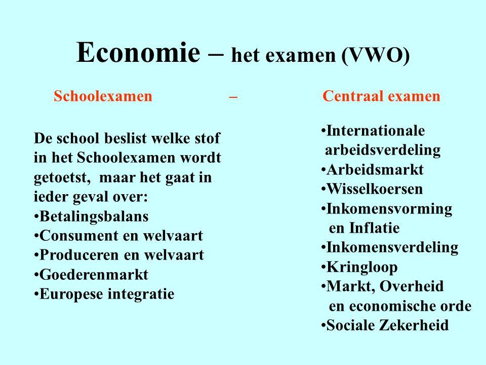 Economie – het examen (VWO) Schoolexamen – Centraal examen De school beslist welke stof in het Schoolexamen wordt getoetst, maar het gaat in ieder gev