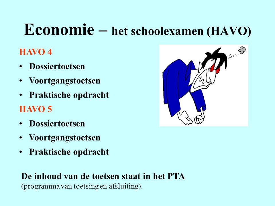 Economie – het schoolexamen (HAVO) HAVO 4 Dossiertoetsen Voortgangstoetsen Praktische opdracht HAVO 5 Dossiertoetsen Voortgangstoetsen Praktische opdr
