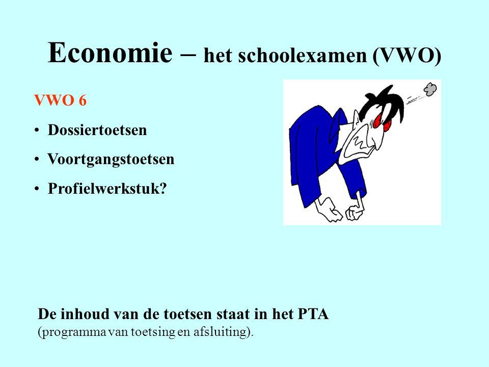 Economie – het schoolexamen (VWO) VWO 6 Dossiertoetsen Voortgangstoetsen Profielwerkstuk? De inhoud van de toetsen staat in het PTA (programma van toe