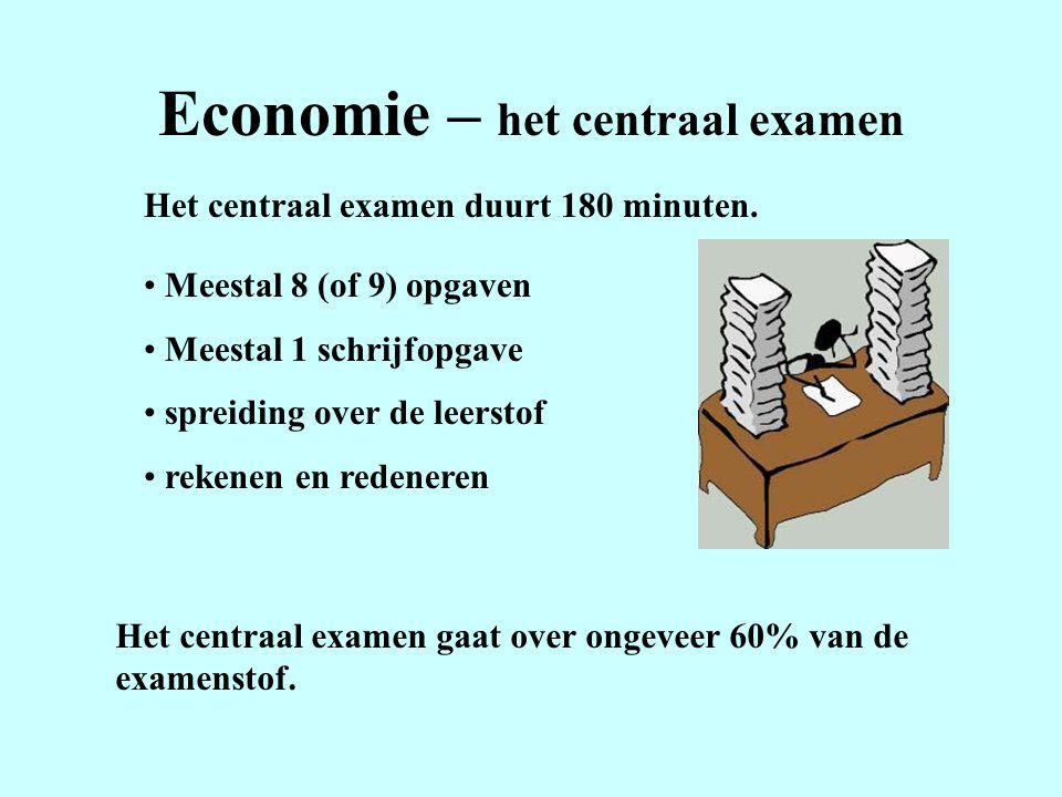 Economie – het centraal examen Het centraal examen duurt 180 minuten. Meestal 8 (of 9) opgaven Meestal 1 schrijfopgave spreiding over de leerstof reke