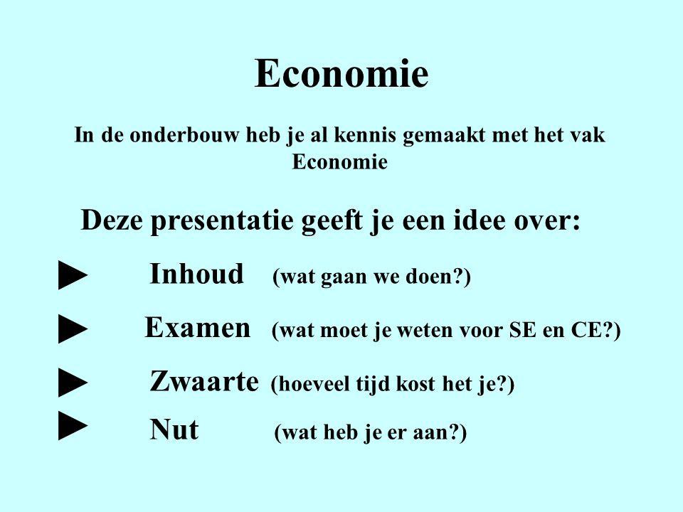 Economie In de onderbouw heb je al kennis gemaakt met het vak Economie Deze presentatie geeft je een idee over: Inhoud (wat gaan we doen?) Examen (wat