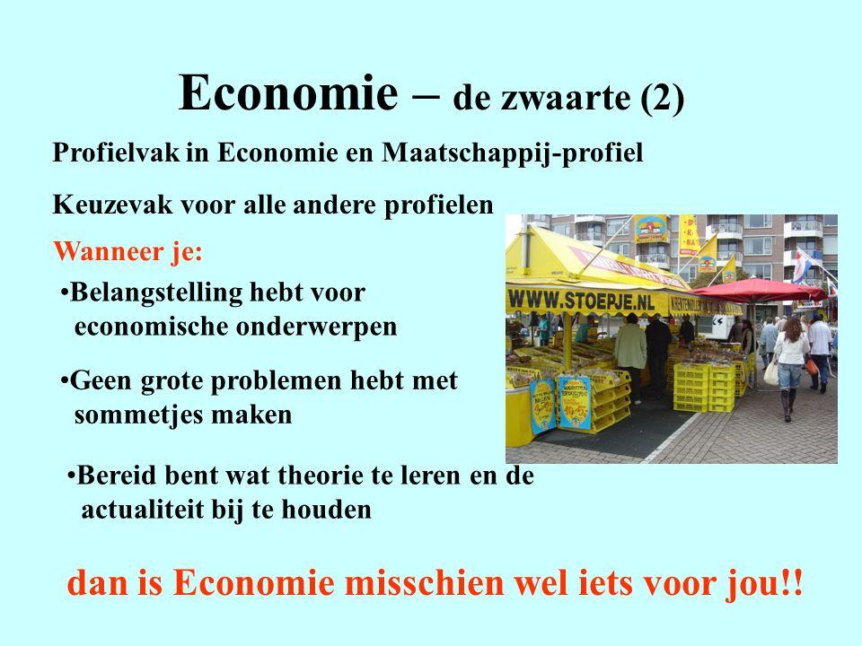 Economie – de zwaarte (2) Profielvak in Economie en Maatschappij-profiel Keuzevak voor alle andere profielen Wanneer je: Belangstelling hebt voor econ